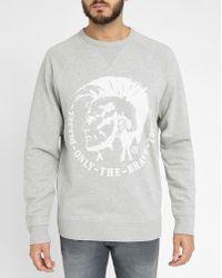 DIESEL | Light-grey Urkawa S-orestes Logo Round-neck Sweatshirt | Lyst