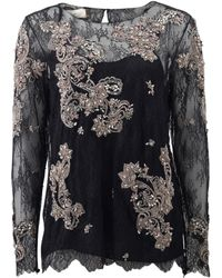 Marchesa | Chantilly Lace Top With Beading | Lyst