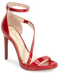 Jessica Simpson 'Rayli' Patent Ankle Strap Sandal red - Lyst