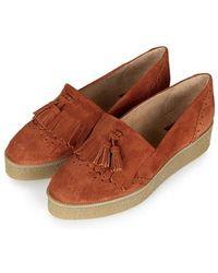 Topshop Kobbler Fringe Flatform Shoes - Lyst