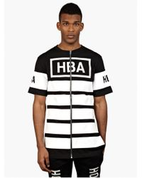 Hood By Air Men'S Black Striped Zip-Up T-Shirt - Lyst