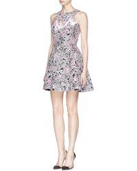 Peter Pilotto 'Vortex' Embroidery Silk Organza Flare Dress - Lyst