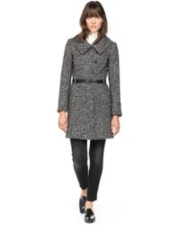 Soia & Kyo Autryf4t Classic Black Wool Coat with Belt - Lyst