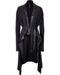 Donna Karan New York Draped Cardigan With Leather Trim - Lyst