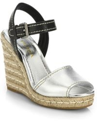 Prada Leather & Metallic Leather Espadrille Wedge Sandals silver - Lyst