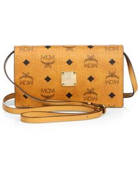 Mcm Color Visetos Leather Crossbody Wallet brown - Lyst