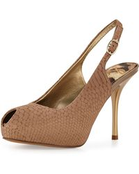 Sam Edelman Evelyn Snakeskin Peeptoe Pumps - Lyst