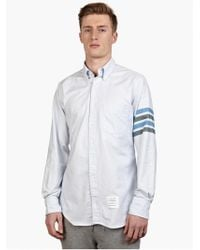 Thom Browne Men'S Blue Striped Cotton Oxford Shirt - Lyst