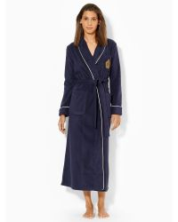Lauren by Ralph Lauren Long Fleece Shawl-collar Robe - Lyst