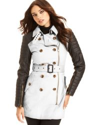 W118 by Walter Baker Long Sleeve Quilted Faux Leather Trench - Lyst