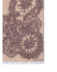 Valentino | Floral Lace Print Cashmere-silk Scarf | Lyst