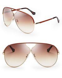 Balenciaga Leather Aviator Sunglasses - Lyst