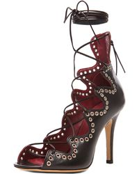 Isabel Marant Lelie Ghillies Leather Sandals - Lyst