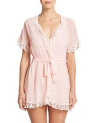 In Bloom Lace-Trim Chiffon Wrap Robe - Lyst