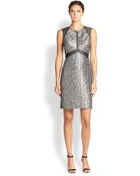 Kay Unger Metallic Jacquard Dress - Lyst
