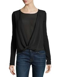 Halston Heritage Long-Sleeve Faux-Wrap Top black - Lyst