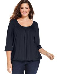 Michael Kors Michael Plus Size Three Quarter Sleeve Peasant Top - Lyst