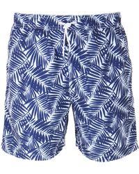 Hackett - Navy Palm Shadows Swim Short - Lyst