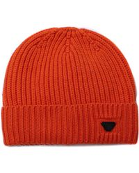 Armani Jeans Orange Woollen Rib Knit Beanie Hat
