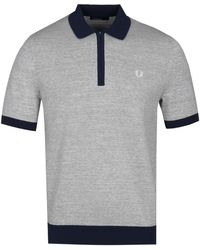 Fred Perry - Quarter Zip Knitted Short Sleeve Polo Shirt - Lyst
