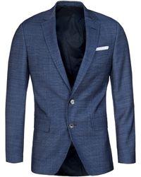 BOSS - Hutson 44 Blue Chambray Woollen Suit Jacket - Lyst