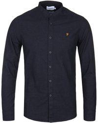 Farah - True Navy Steen Grandad Collar Long Sleeve Shirt - Lyst