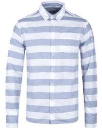 Albam - Navy Thick Stripe Hockney Shirt - Lyst