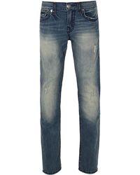 True Religion - Geno Flap Super T Mid Distressed Wash Blue Jeans - Lyst