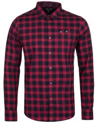 Weekend Offender - Demille Navy & Ruby Check Long Sleeve Shirt - Lyst