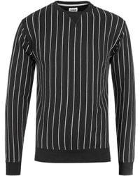 Edwin - Black Vertical Stripes Crew Neck Sweater - Lyst