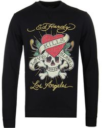 Ed Hardy - Love Kills Slowly Black T-shirt - Lyst