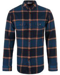 Gant Rugger - Marine Checked Twill Overshirt - Lyst