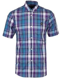 Marshall Artist - Purple Check Short Sleeved Madras Shirt - Lyst
