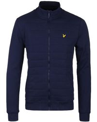 Lyle & Scott - Navy Wadded Funnel Neck Zip Up Sweatshirt - Lyst