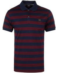 Paul & Shark - Burgundy / Navy Striped Organic Cotton Shark Fit Short Sleeve Polo Shirt - Lyst