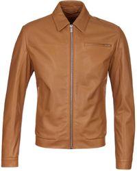HUGO - Lantik Tan Leather Jacket - Lyst