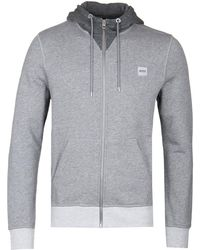 BOSS by Hugo Boss - Grey Marl Zeroes Zip Hoodie - Lyst