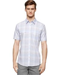 Calvin Klein Square Multi-Check Shirt blue - Lyst