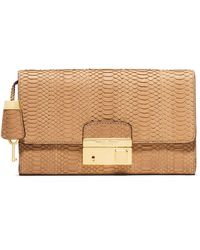 Michael Kors Gia Sueded Snake Clutch Bag With Lock - Lyst