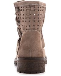 Jeffrey Campbell Perforated Suede Lug Sole Booties Grey - Lyst