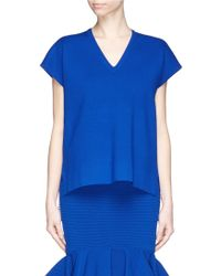 Comme Moi Stripe Back High-Low Knit Top blue - Lyst