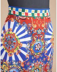 Dolce & Gabbana | Straight Skirt In Printed Silk | Lyst