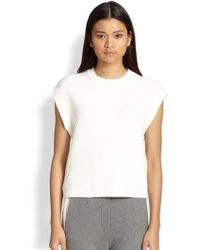 3.1 Phillip Lim Asymmetrical Ribbed Cap-Sleeved Sweater - Lyst