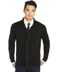 Elie Tahari Black Extra Fine Merino Wool Knit Reed Cardiga - Lyst