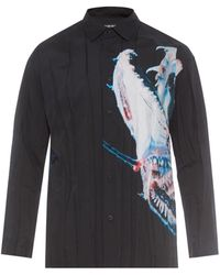 Issey Miyake Crinkle-Effect Fish-Print Shirt - Lyst