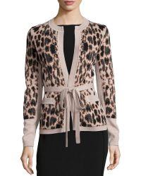 Carolina Herrera Animal Jacquard Belted Cashmere Jacket - Lyst