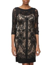 Sue Wong Threequarter Lace Overlay Dress - Lyst