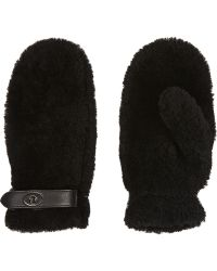 Coach Leathertrimmed Shearling Mittens - Lyst
