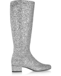 Saint Laurent Glitter Finished Leather Knee Boots - Lyst