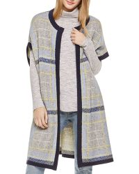 Two By Vince Camuto - Plaid Jacquard Cardigan - Lyst